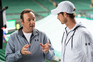 Kevin Spacey (s) e Andy Murray a Wimbledon (ANSA)