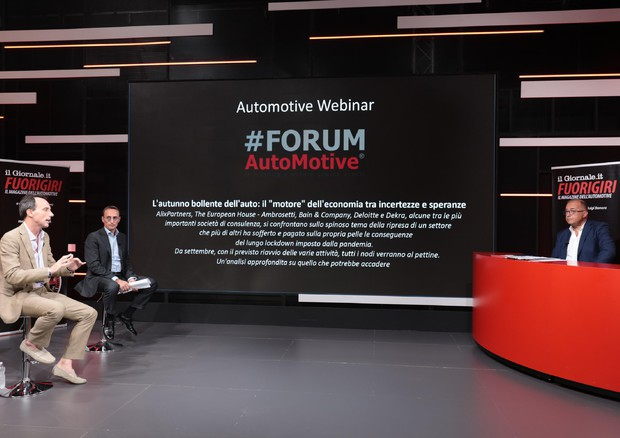 Galimberti, Duse e Bonora all'incontro del #ForumAutomotive (ANSA)